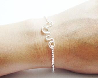 Silver Love Bracelet Silver Bracelet Dainty Bracelet LOVE