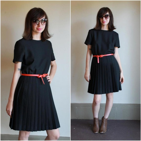 Little Black Dress / Pleated Knee Length Skirt Aline Sheath