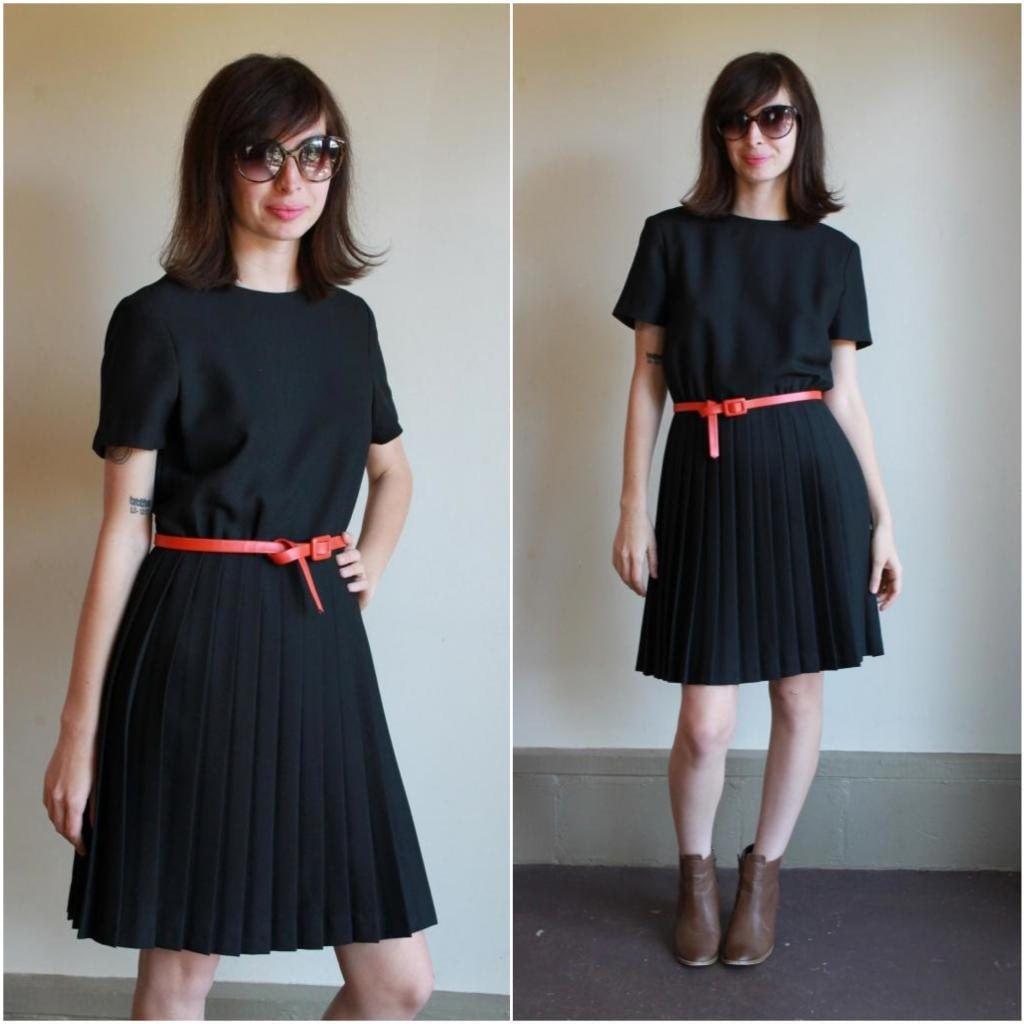 Little Black Dress / Pleated Knee Length Skirt Aline Sheath