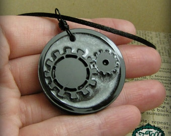 Sparkly Pewter Silver GEARS Steampunk Resin and Acrylic OOAK Necklace