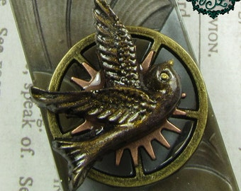 MORNING FLIGHT Steampunk Architectural Resin Pendant with Antique Brass Necklace
