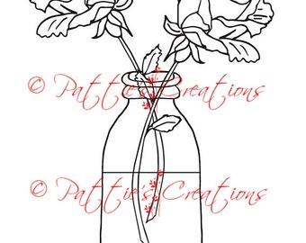 Roses In Milk Bottle