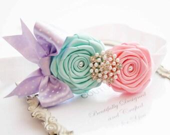 Baby Headband Girls Headband Colored Aqua and Pink Headband with Rhinestones and Pearls