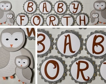 Owl Baby Shower Party Decoration Banner 2-D - CUSTOM Message (20 letters)