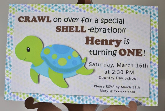 turtle baby shower invitation or first birthday party package, Baby shower invitations