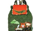 Personalized Monogrammed Stephen Joseph Signature Collection Quilted Boy Safari Backpack--Free Monogramming--