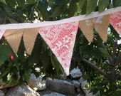 Lace Over CORAL Burlap Beach Wedding Banner Fabric Bunting Garland of Flags 11 Feet