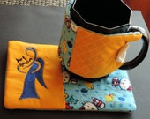 Cat Rescue Angel Coffee Cup Cozy and Mug Rug