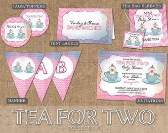Tea For Two Collection - DIY Custom Printable - Invitations, Labels, Tags, Toppers, Banner
