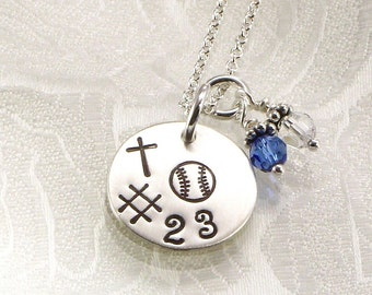 Hand Stamped Softball or Baseball Necklace -Personalize with Your Choice of Your Favorite Sport and Number  - Crystal Charm with Team Colors