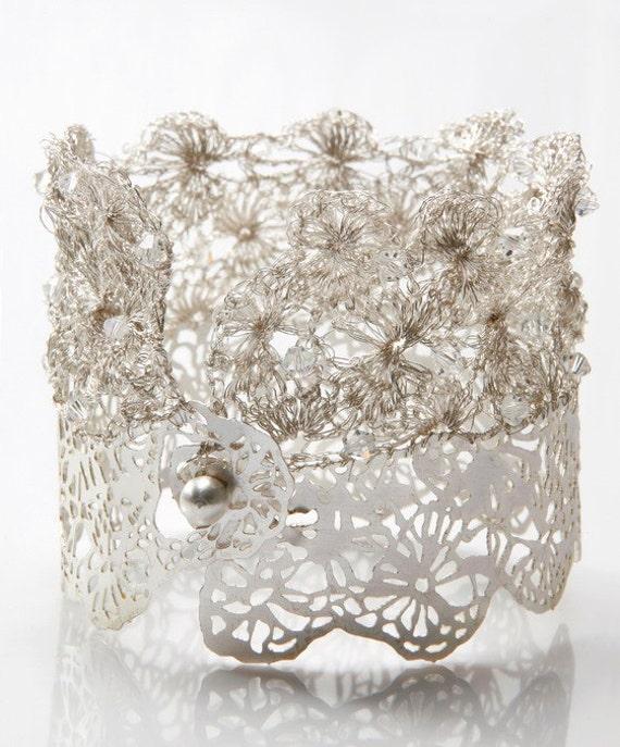 Свадебный крючком посеребренные браслет Кружево металла