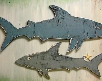 Shark Sign Large Beach House Wall Art Coastal Seaside Nautical by CastawaysHall