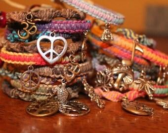 TWO Hemp friendship charm bracelets- you pick 2 styles and colors- peace, cannabis, Buddha, ohm, aum,mushroom, grateful dead, hemp jewelry