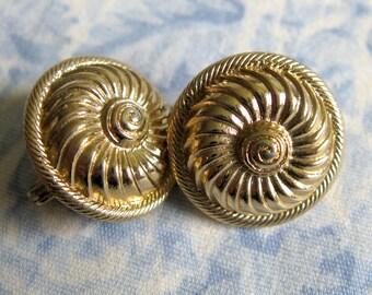 Monet Vintage 1970s Gold Tone Nautical Clip On Earrings