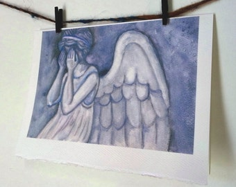 Angel Art Watercolor Card Notecard Stationary - Weeping Angel