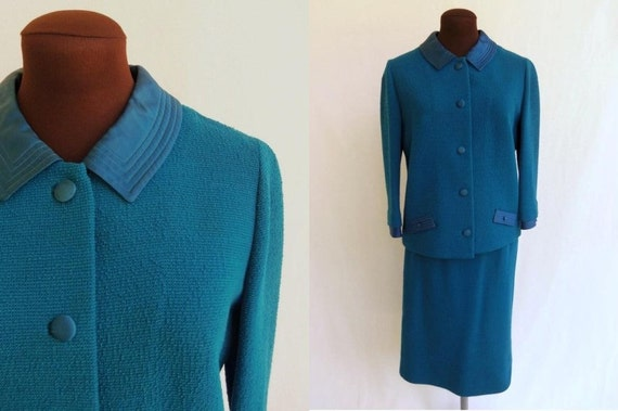 Vintage 60s Suit Turquoise Textured Knit with Satin Trim Size S / M