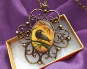 Spooky Tree Raven Pendant - Gothic Crow Necklace- Steampunk Jewelry