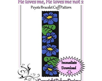 Bead Pattern Peyote(Bracelet Cuff)-He loves me, He loves me not 2