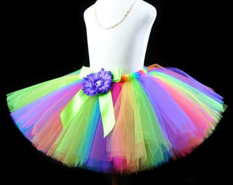 Girl's, Teen, Adult Women's Rainbow Tutu...Rainbow Clown Tutu, Halloween Rainbow Tutu, Fun Run Tutu, Rainbow Birthday Tutu...CANDY RAINBOW