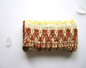 Red and Yellow Fabric Iphone Sleeve - Handwoven Iphone Case - Handmade Fabric Case lined in Rust Velvet - Michelebuttons