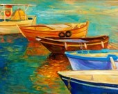 Original oil-Boats 16x24in, Landscape Painting Original Art Impressionistic OIl on Canvas by Ivailo Nikolov