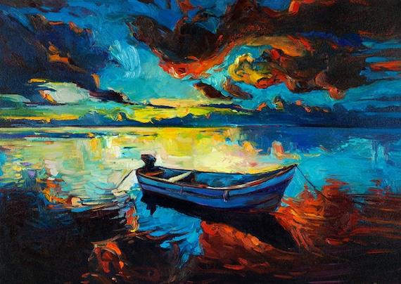 Night scenery 27x20, Original Landscape Impressionistic Oil Painting by Nikolov