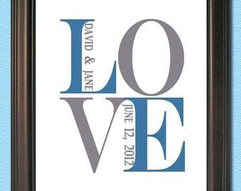 Personalized Couple Art- LOVE- Art Digital JPEG File - Any SIze