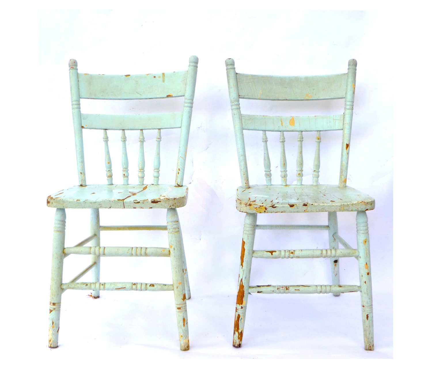 Vintage blue spindle back kitchen chairs pair robins egg for Kitchen chairs