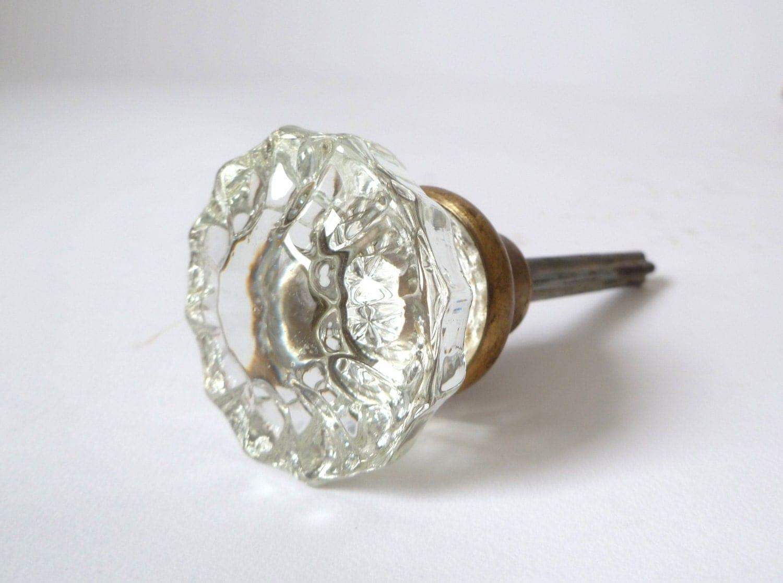 Vintage Faceted Glass Door Knob Antique Doorknob Metal