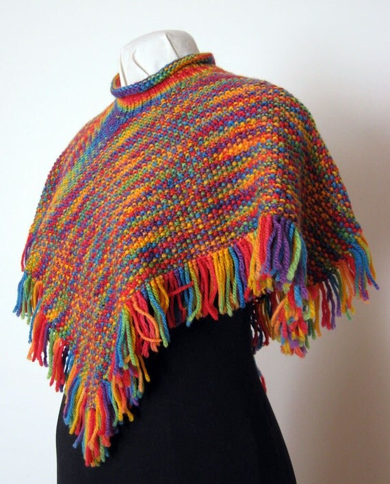 Knitting Pattern PDF, Poncho, Seed Stitch Poncho, Babies and Kids, Three Gaug...