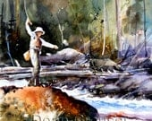 FLY FISHING Watercolor Print by Dean Crouser