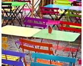 Paris Café photo - Rainbow Chairs, outdoor seating, sidewalk, bistro, warm weather, Springtime - 8x8 or 12x12 Original Fine Art Photography