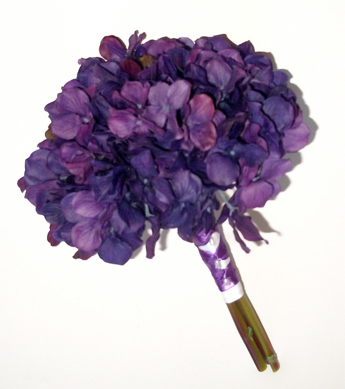 Wedding Bouquets With Rainbow Roses : True touch hydrangea wedding bouquet purple