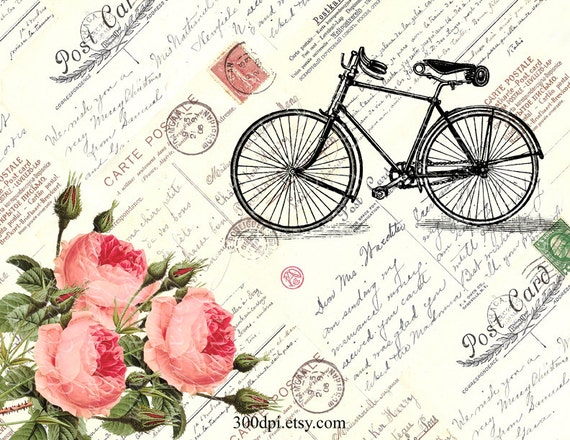 Bike roses large digital image printable download iron on - Posters gigantes para pared ...