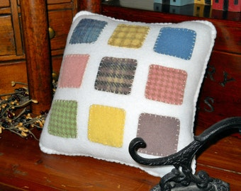 Quilted Throw Pillow - Plush Accent Pillow -  Nine-Patch Wool Pillow-  Country Cottage Decor