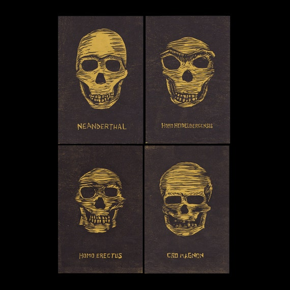 Extinct Hominid Skulls Woodcut Print Set