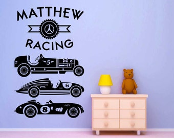 Custom name decal for boys decor with Vintage Race Cars - Personalized - kids wall decals