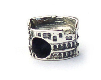 Rome Italy Colosseum Landmark Bead Sterling Silver LM007