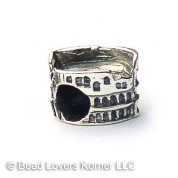 Roman Colosseum Landmark Charm Beads Sterling Silver LM007