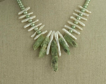 Tribal Necklace Statement Chunky Kyanite Pearl Green White