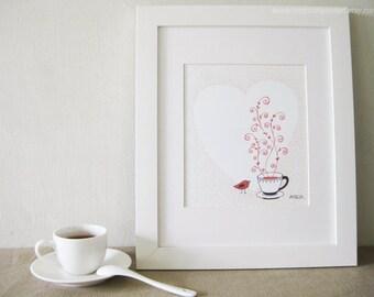 Tea Time with Nadia - 8x10 Pen & Ink Illustartion - Kitchen Art / Tea Art