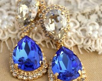 Blue cobalt chandelier earring,Drop earrings,Blue drop chandelier earrings  - 14 k plated gold  earrings real Swarovski blue crystals.