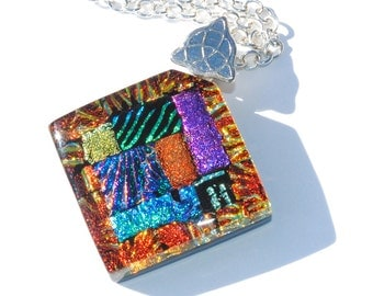 Abstract Mosaic Art Pendant, Dichroic Glass Pendant, Fused Glass Jewelry, Bright Colorful, Rainbow, Wearable Art, Unique Gift (Item 10511-P)