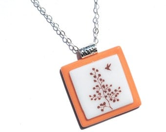 Simply Whimsical Fused Glass Pendant - Bird, Tree, Woodland, Nature, Outdoors - Sepia, Light Orange, White (Item 10557-P)