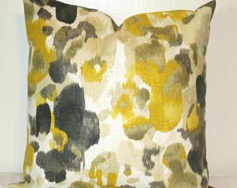 Yellow and Grey Linen 18 inch Decorative Throw Pillows Cushion Covers