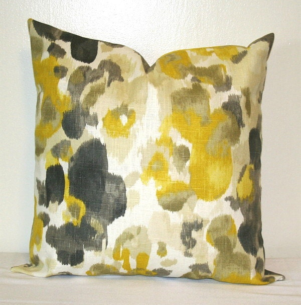 Yellow And Grey Linen 18 Inch Decorative Throw Pillows Cushion