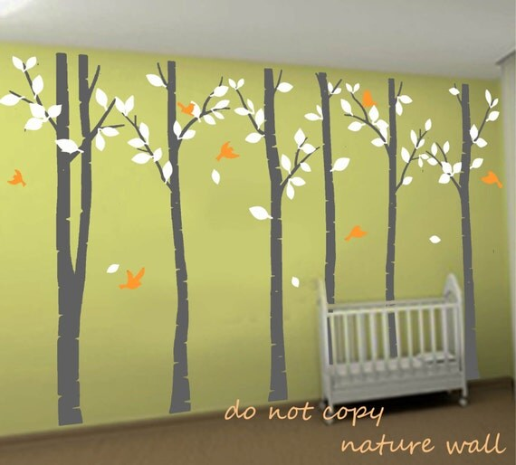 Birch tree decals wall stickers forest decals kids by for Birch tree mural nursery