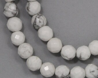 White Howlite Beads - 6mm Faceted Round