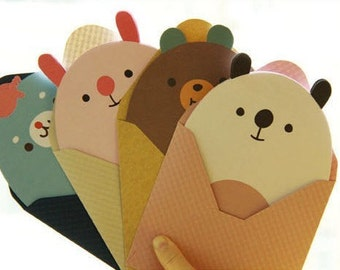 4Sets Korea Cute Little Animal Writing Paper Envelopes Sets Diary Writing Paper