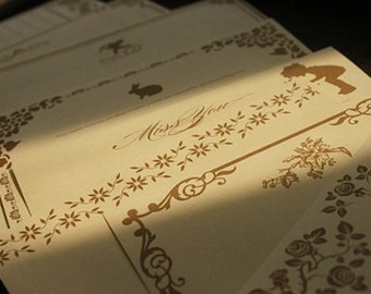 8 Sheets Kraft Paper Letter Writing Paper Sets-European lace